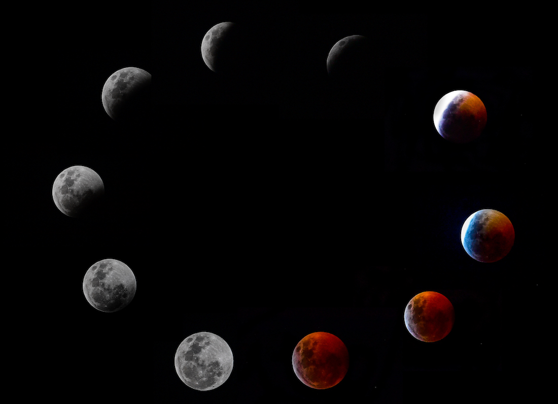 A composite photo shows all the phases of the so-called Super Blood Wolf Moon total lunar eclipse on Sunday January 20, 2019 in Panama City. - The January 21 total lunar eclipse will be the last one until May 2021, and the last one visible from the United States until 2022. (Photo by Luis ACOSTA / AFP)