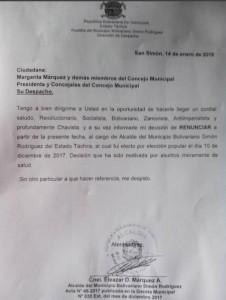 Alcalde tachirense PSUV renunció