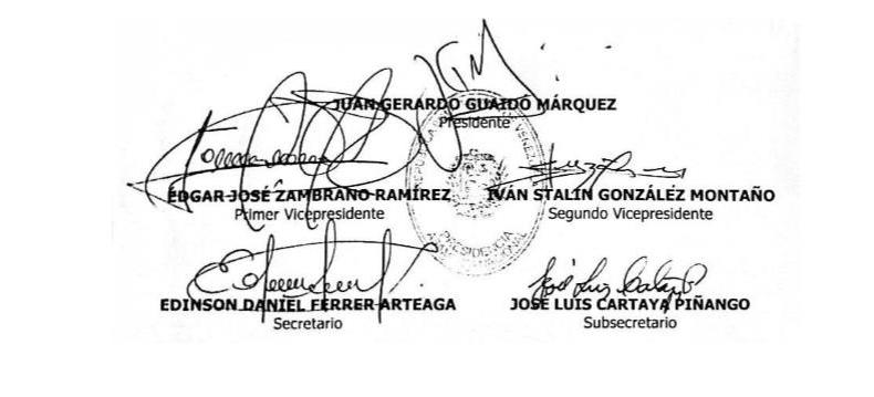 Firmas en el acuerdo de la Asamblea Nacional sobre usurpación del cargo - Nicolás Maduro
