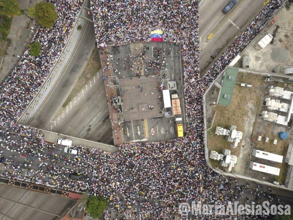 Marcha de la oposición en la Avenida Francisco de Miranda