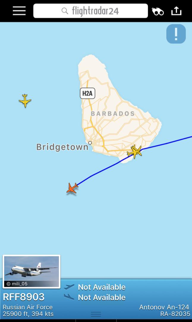Avión ruso con destino a Venezuela