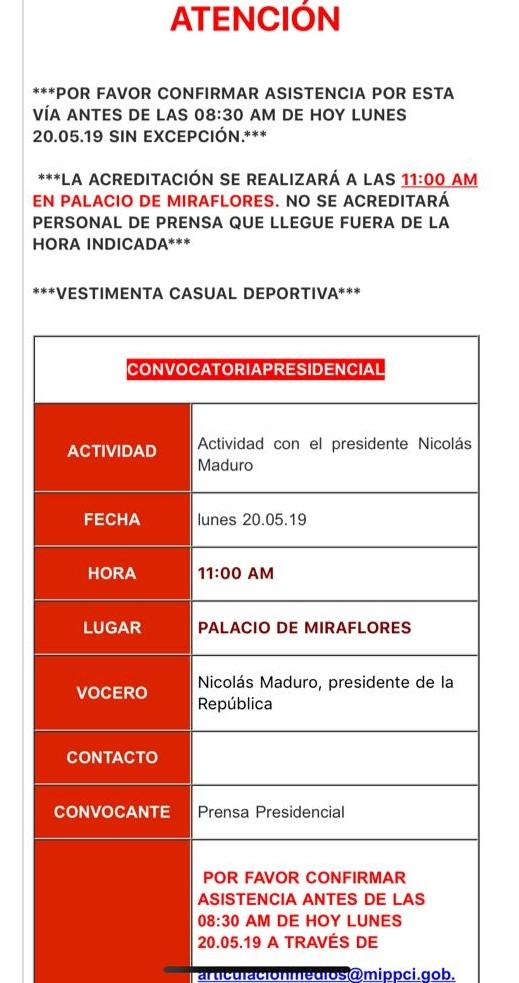 Convocatoria actividad con Maduro 20-05-19