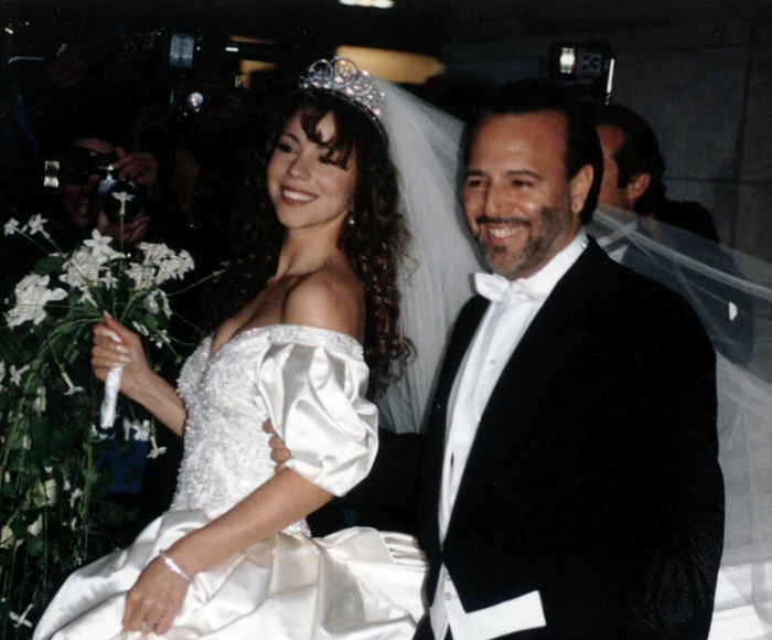 Mariah Carey con Tommy Mottola, actual esposo de la cantante mexicana Thalía