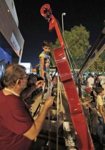 Ghaleb Badran presents giant violin