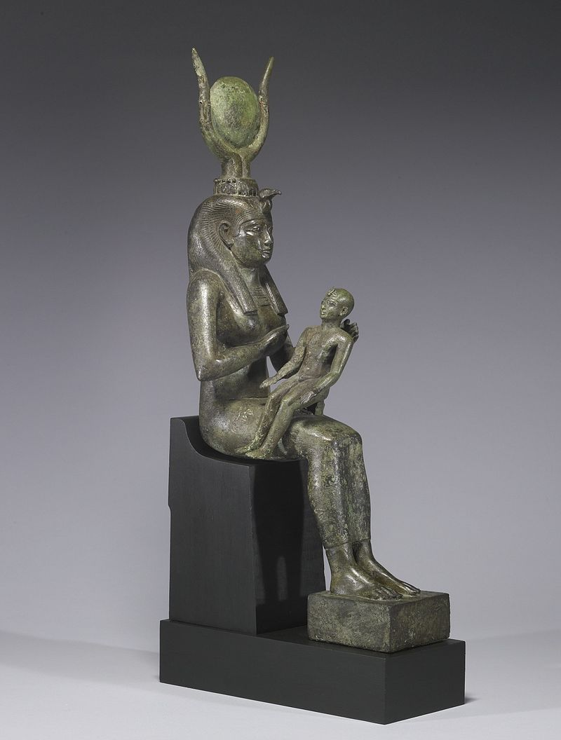 800px-Egyptian_-_Isis_with_Horus_the_Child_-_Walters_54416_-_Three_Quarter_Right