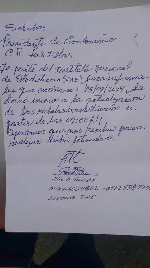 Carta para invadir después las casas